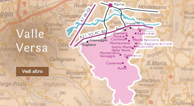 Mappa Valle Versa Oltrepò Pavese